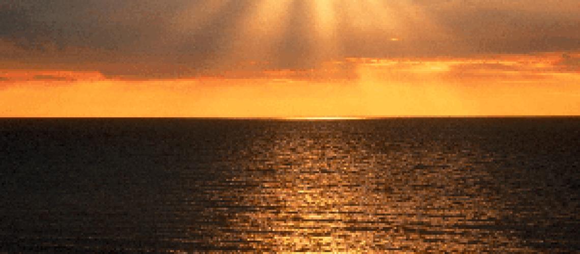 Sun shining on sea